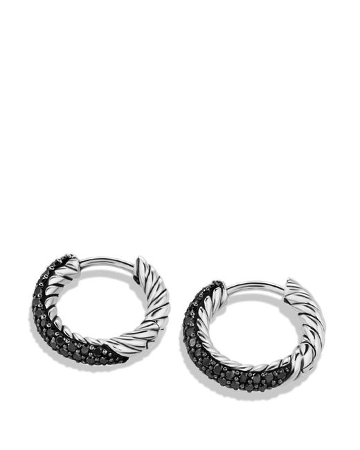 David Yurman | Metallic Petite Pavé Huggie Hoop Earrings With Black Diamonds | Lyst