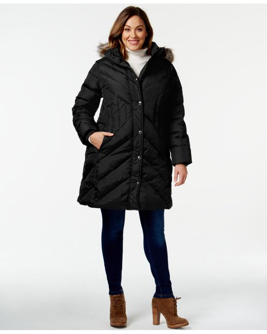 London Fog Plus Size Faux Fur Trim Quilted Puffer Coat In