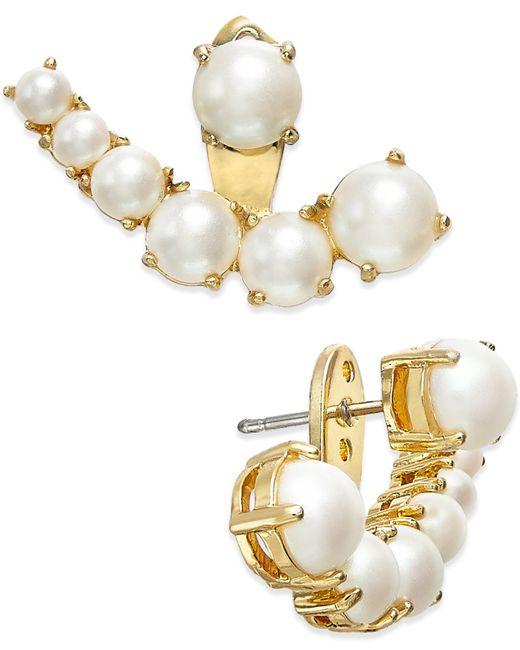 Kate Spade | Metallic Gold-tone Imitation Pearl Ear Jackets | Lyst