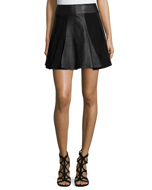 michael michael kors leather suede flare skirt in black
