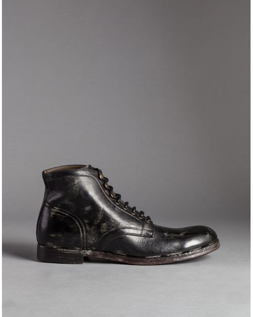 dolce gabbana mold effect leather siracusa boots in