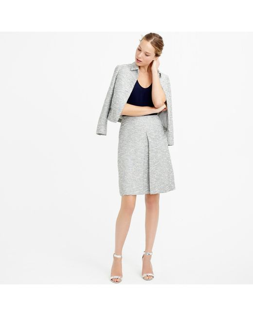 j crew a line skirt in black and white tweed in gray