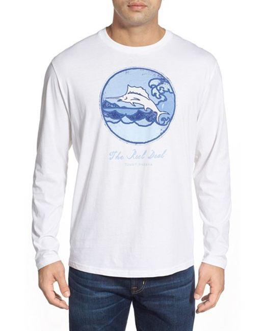 Tommy Bahama 39 Reel Deal 39 Long Sleeve Graphic T Shirt In