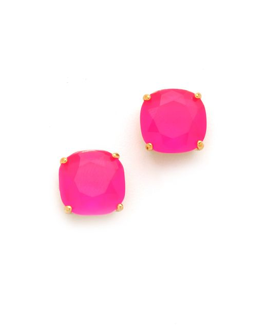 kate spade new york | Pink Small Square Stud Earrings | Lyst