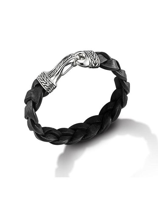 John Hardy | Hook Bracelet On Black Braided Leather Cord for Men | Lyst