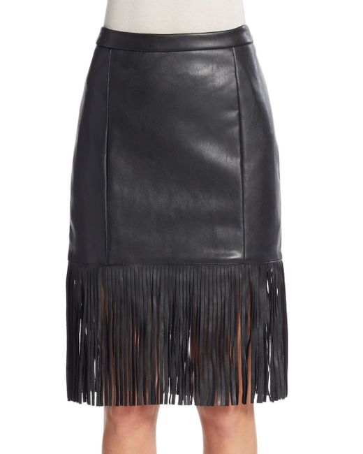 bagatelle fringe faux leather skirt in black save 79 lyst
