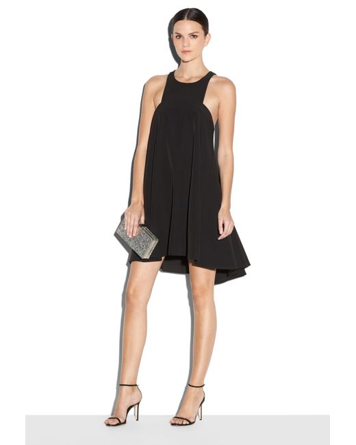 Milly Italian Cady Angular Trapeze Dress in Black