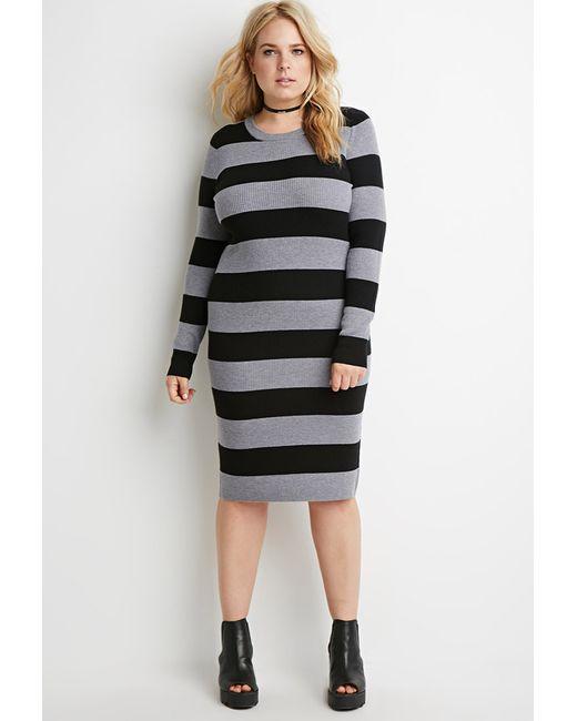 Forever 21 | Black Plus Size Striped Rib Sweater Dress | Lyst