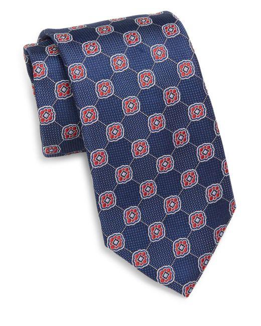 Saks Fifth Avenue | Blue Floral Medallion Silk Tie for Men | Lyst
