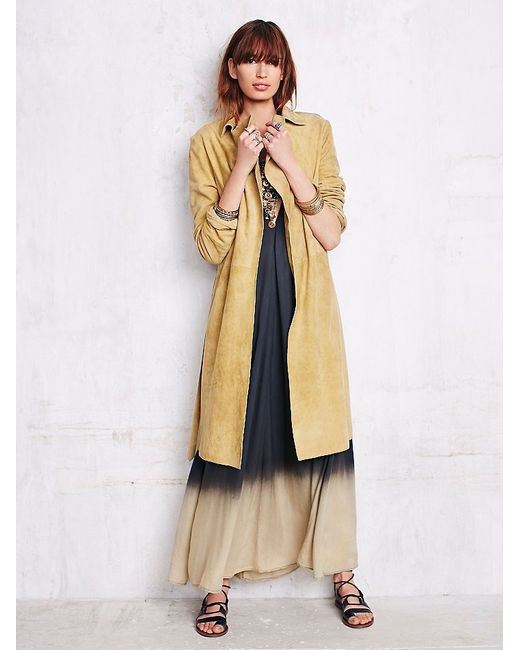 Free People   Metallic Suede Trench   Lyst