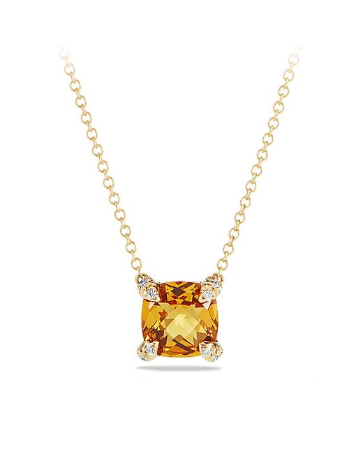 David Yurman | Metallic Châtelaine Pendant Necklace With Citrine And Diamonds In 18k Gold, 7mm | Lyst