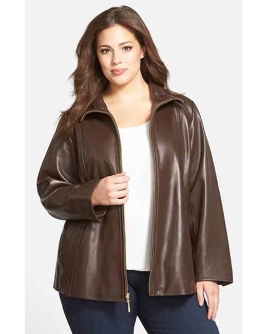 Ellen Tracy | Brown Leather A-Line Coat | Lyst