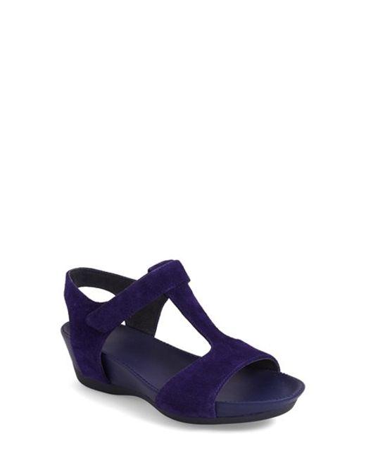 cer micro suede wedge sandals in purple medium purple