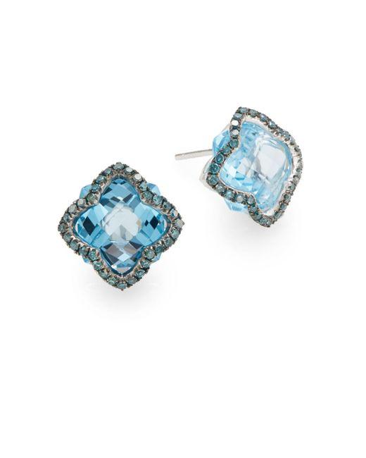 Effy | Blue Topaz, Blue Diamond & 14k White Gold Floral Stud Earrings | Lyst
