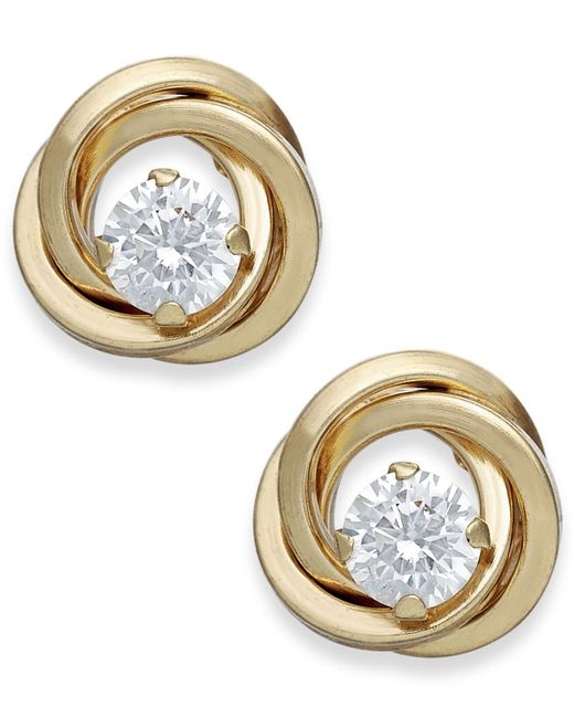 Macy's | Metallic Cubic Zirconia Love Knot Stud Earrings In 10k Gold | Lyst