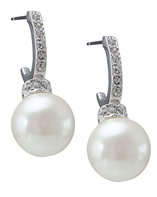 Carolee | White Pave Crystal Hoop And Pearl Drop | Lyst
