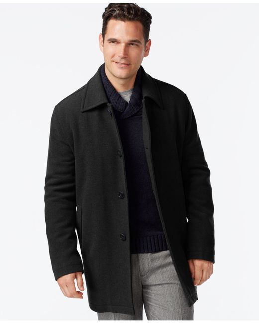 Cole Haan | Black Wool-blend Coat for Men | Lyst