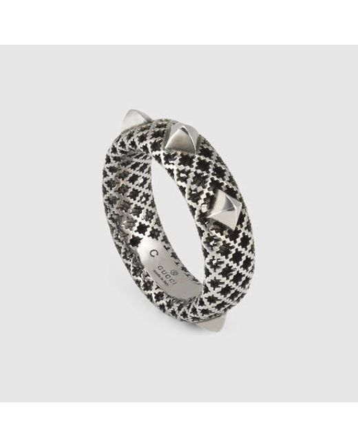 Gucci | Metallic Ring In Silver With Studs | Lyst