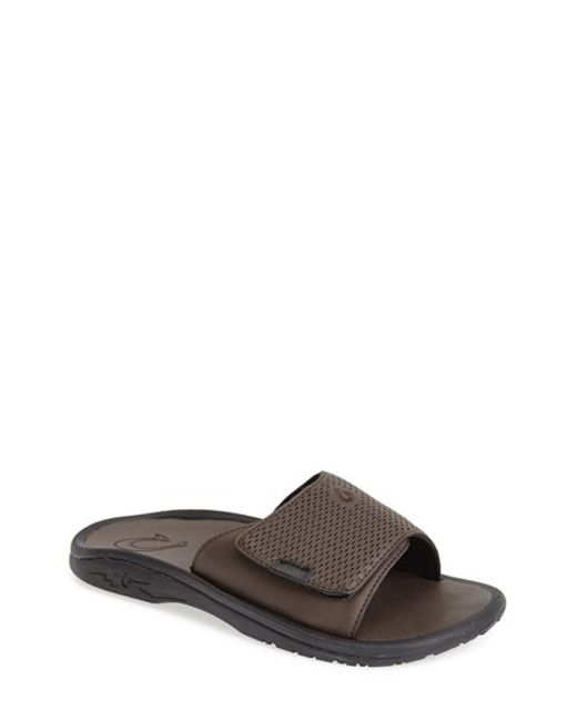 Olukai | Black 'kekoa' Slide Sandal for Men | Lyst
