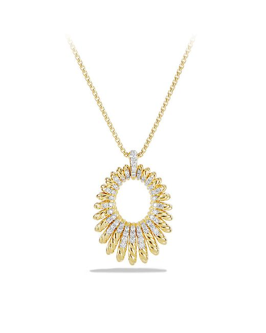 David Yurman | Metallic Tempo Pendant Necklace With Diamonds In 18k Gold | Lyst