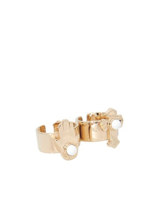 Roberto Cavalli | Metallic Charms Two-fingers Ring | Lyst