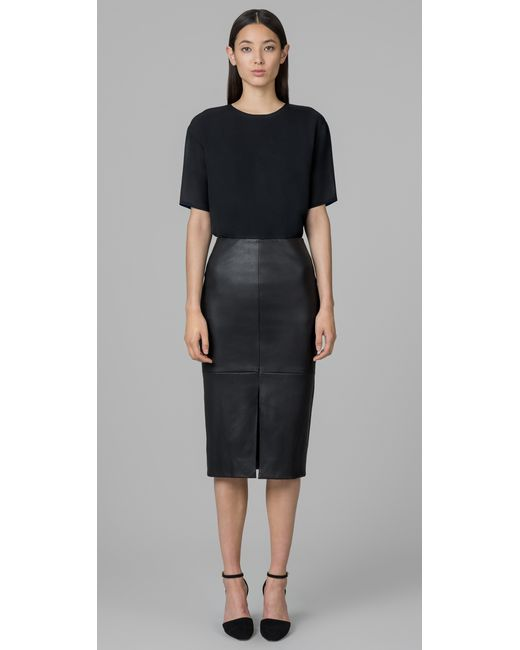 kimora simmons stretch leather pencil skirt in black