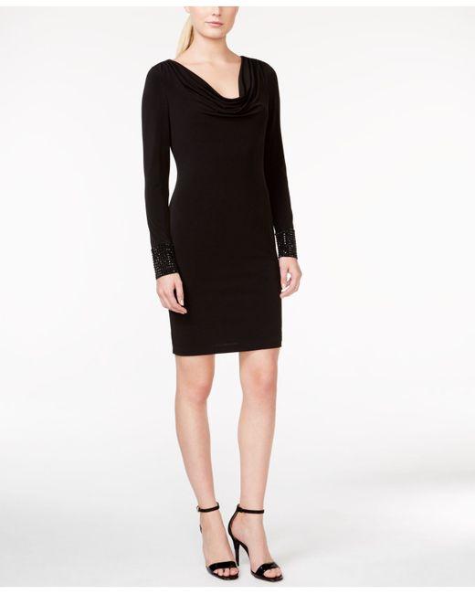 Cowl Neck Sheath Dresses: Calvin Klein Cowl-neck Stud-trim Sheath Dress In Black