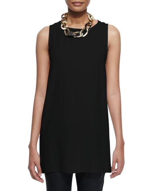 Eileen Fisher | Black Sleeveless Silk Long Shell | Lyst