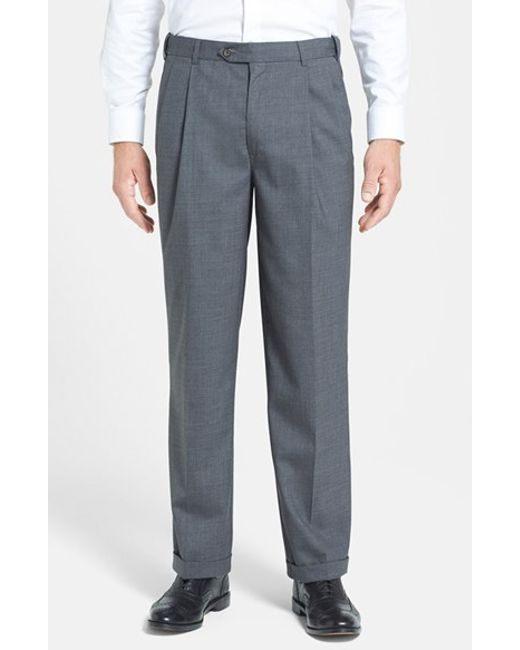 Berle | Blue Self Sizer Waist Pleated Wool Gabardine Trousers for Men | Lyst