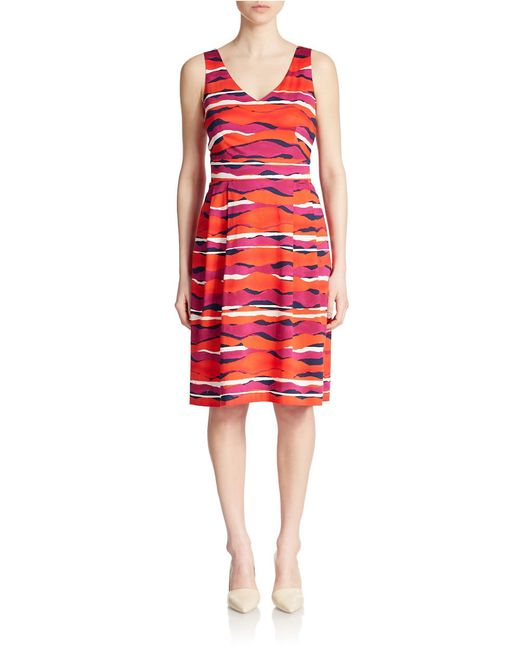 Anne Klein Printed Fit And Flare Dress In Purple Fuchsia