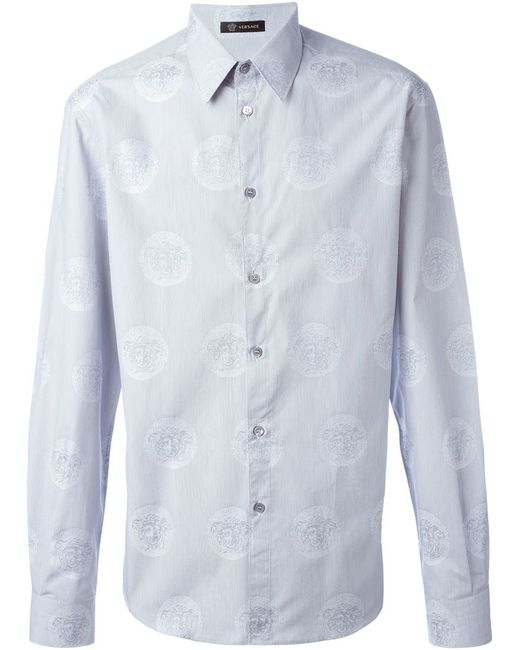 Versace medusa jacquard shirt in blue for men white lyst for Blue and white versace shirt
