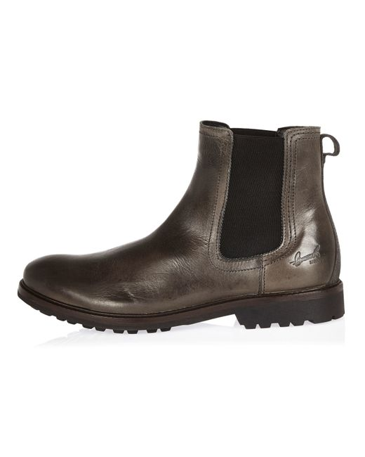 Island Grey Leather Cleated Sole Chelsea Boots In Gray For Men Lyst