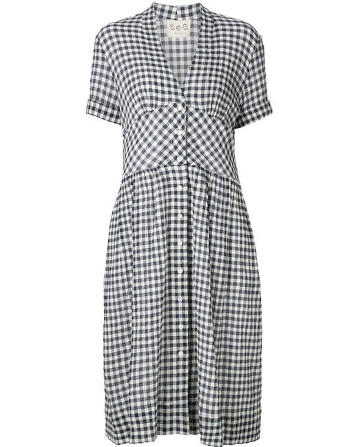 Sea gingham check shirt dress in blue save 30 lyst for Blue check dress shirt