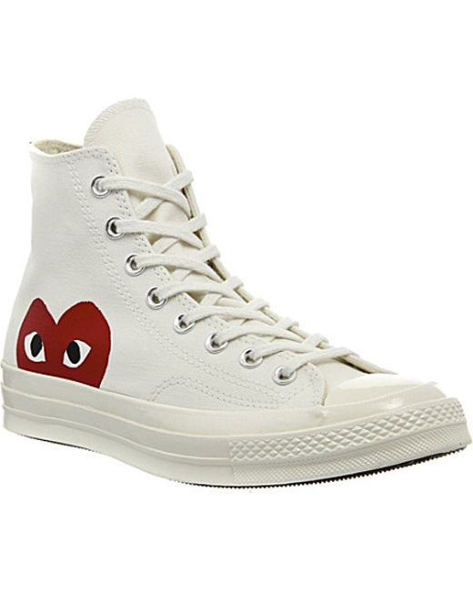 Play Comme des Garçons | White Play Chuck Taylor Canvas High-Top Sneakers | Lyst