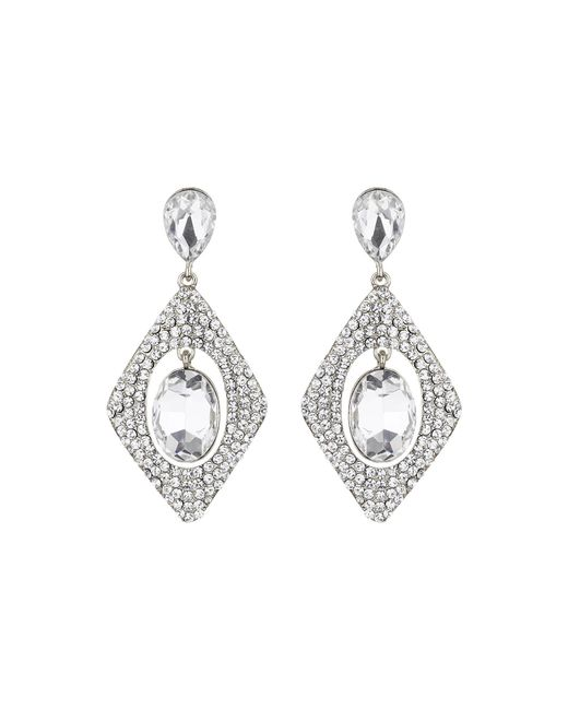 Mikey | White Diamond Design Hanging Centre Earring | Lyst