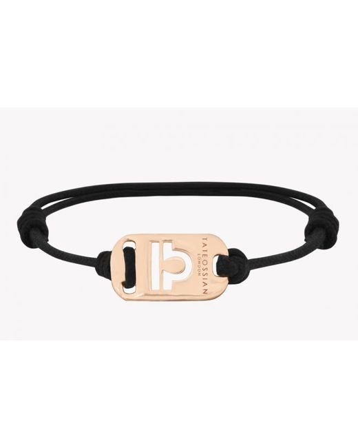 Tateossian | Zodiac 18k Yellow Gold Libra Black Waxed Cord Bracelet for Men | Lyst