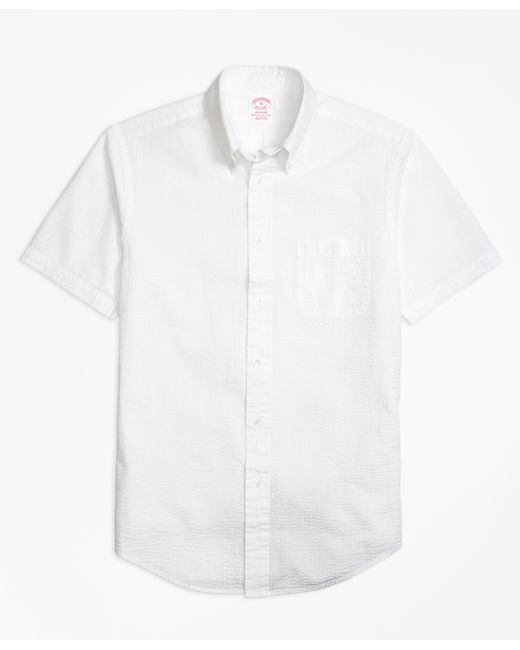 Brooks brothers madison fit seersucker short sleeve sport for Brooks brothers sports shirts