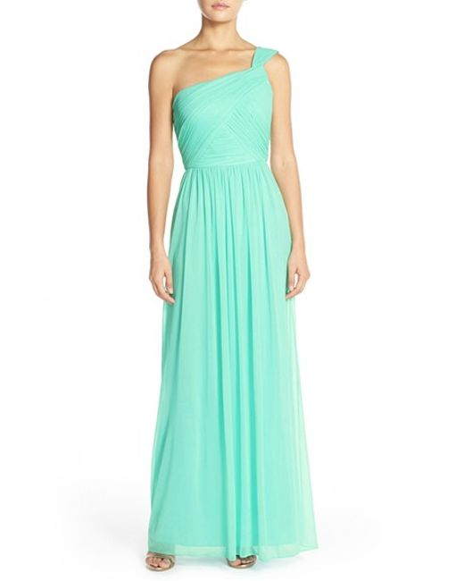 Alfred Sung | Blue One-shoulder Shirred Chiffon Gown | Lyst