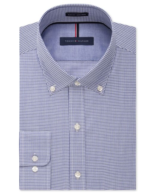 Tommy hilfiger slim fit non iron blue check dress shirt in for Slim fit non iron dress shirts