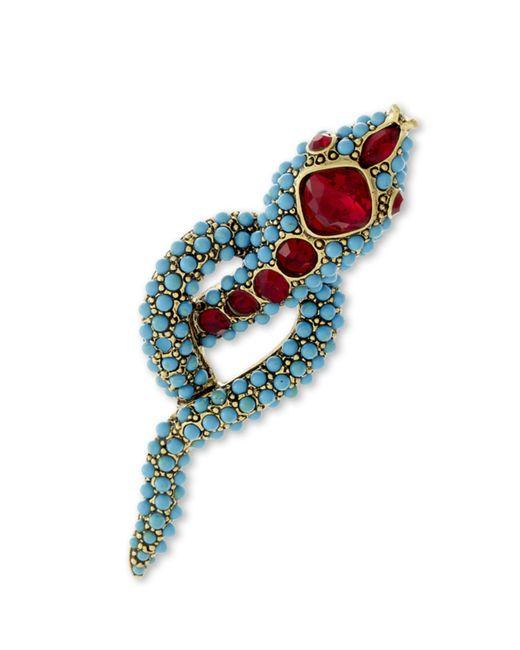 Kenneth Jay Lane | Blue Turquoise Snake Brooch | Lyst