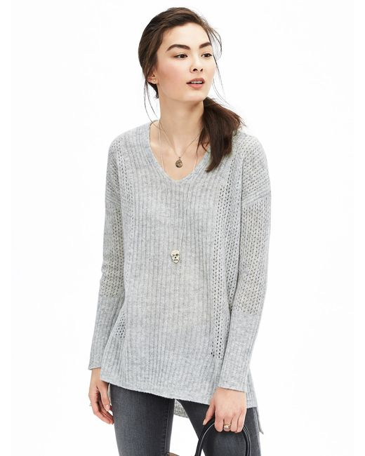 Banana Republic | Gray Lace-stitch Vee Pullover | Lyst