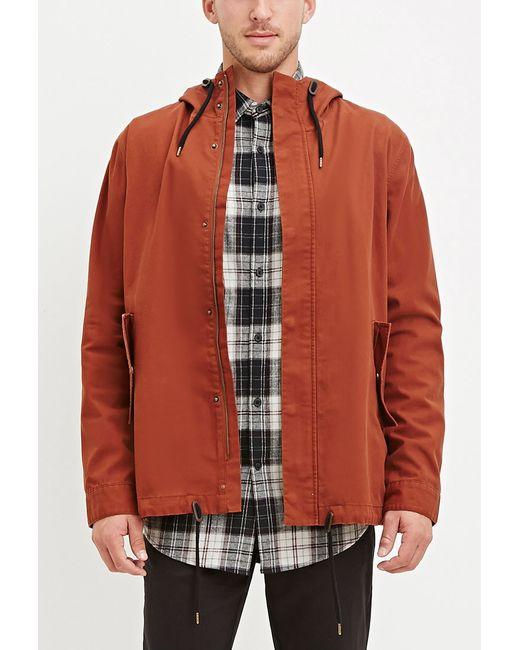 Forever 21 | Brown Hooded Utility Jacket for Men | Lyst