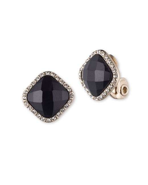 Anne Klein | Black Faceted Jet And Pave Goldtone Earrings | Lyst