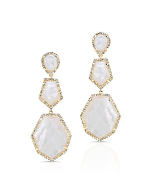 Anne Sisteron | White 14kt Yellow Gold Mother Of Pearl Diamond Ice Earrings | Lyst