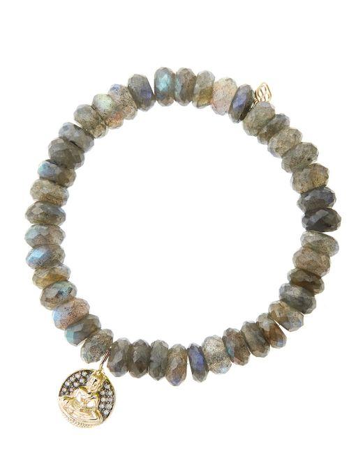 Sydney Evan | Gray Small Elephant Diamond, Dark Grey Quartz & 14k Yellow Gold Beaded Stretch Bracelet | Lyst