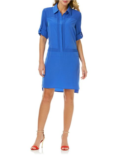 Laundry by Shelli Segal | Blue Tonal Colorblock Shirt Dress | Lyst