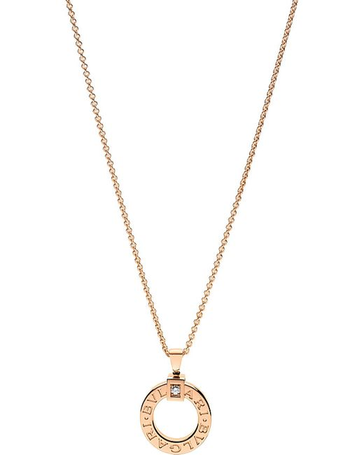BVLGARI | B.zero1 18kt Pink-gold And Diamond Necklace | Lyst