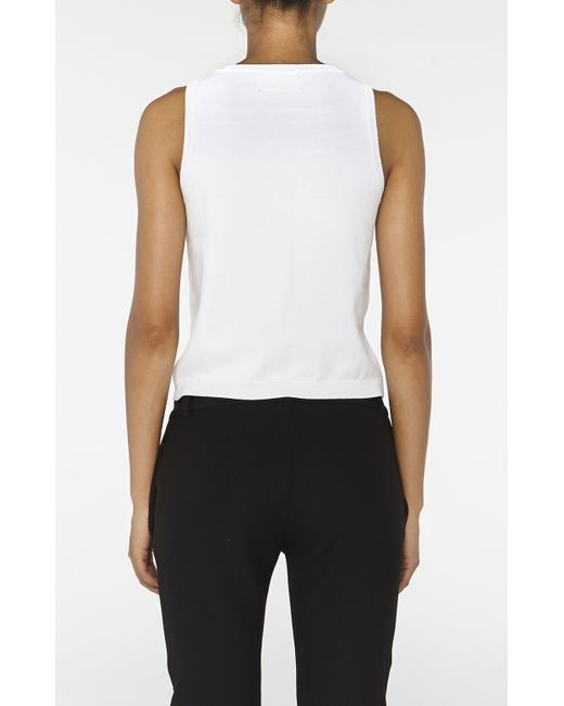 Nicole Miller | White Knit Crew Neck Tank Top | Lyst