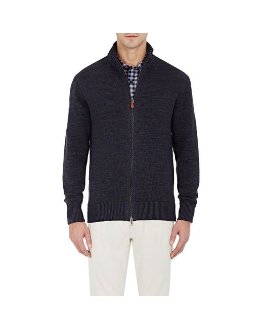 Inis meain Mens Zip-front Cardigan in Blue for Men - Save ...