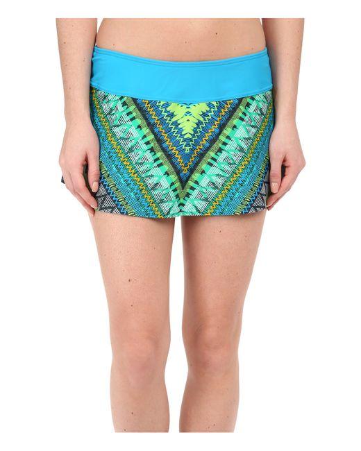 prana sakti swim skirt in blue blue panama save